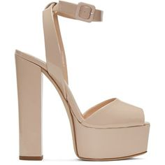 Giuseppe Zanotti Beige Patent Lavinia Platform Sandals ($795) ❤ liked on Polyvore featuring shoes, sandals, heels, giuseppe zanotti, sapato, beige, ankle strap platform sandals, giuseppe zanotti sandals, block heel shoes and peep toe platform sandals