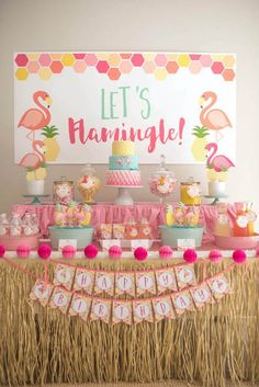 Flamingo + Flamingle Pineapple Party via Kara's Party Ideas   http://KarasPartyIdeas.com - The Place for All Things Party! (3)