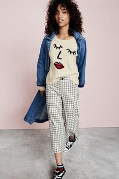 Madewell Denim Duster Coat, Making Faces Pullover Sweater, Langford Wide-Leg Crop Pants in Windowpane and Converse Chuck Taylor All Star High-Top Sneakers in Velvet