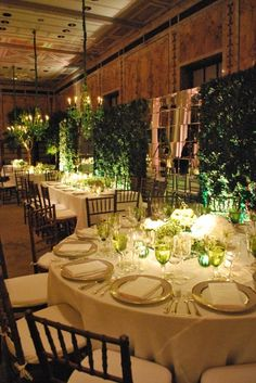 Fall Green Centerpieces Indoor Reception Place Settings Wedding Reception Photos & Pictures - WeddingWire.com