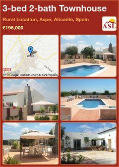 3-bed 2-bath Townhouse in Rural Location, Aspe, Alicante, Spain ►€196,000 #PropertyForSaleInSpain