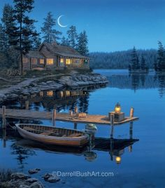 Rivers Edge LED Wall Art - Crescent Moon Cabin for sale online Landscape Art, Landscape Paintings, Beautiful Places, Beautiful Pictures, Thomas Kinkade, Lake Cabins, Cabins In The Woods, Wildlife Art, Nature Pictures