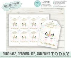 EDITABLE Unicorn favor tags. INSTANT DOWNLOAD Printable thank   Etsy
