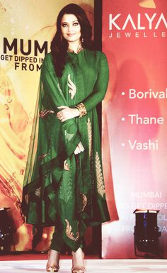 Aishwarya Rai in forest green and gold salwar kameez | Wedding Style inspiration by Marigold Paper