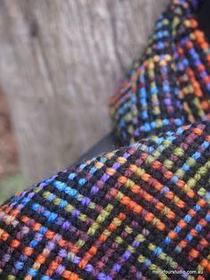 Log cabin weave in variegated yarn on rigid heddle loom. www.metafourstudio.com.au