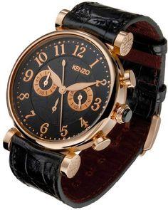 Men : classic chrono watch, rose gold plating stariness steel case, inner strap satin ribbon
