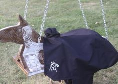 Outdoor Horse And Saddle Swing Saddle Swing, Horse Swing, Cattle Corrals, Saddle Cover, Old Oak Tree, Wooden Horse, Kids Play Area, Ranch Life, Old Doors