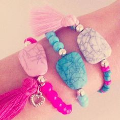 Happy Armcandy - Beads & Basics - Pink, Blue and White Beads with Tassels and heart charms
