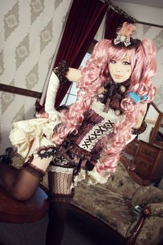 There is a style of Lolita inspired by lingerie, but this is not it. Harajuku Fashion, Japan Fashion, Lolita Fashion, Japanese Streets, Japanese Street Fashion, Brolita, Bright Hair, Steampunk Fashion, Pretty Pictures