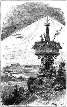 """LA VIE ÉLECTRIQUE"" BY ALBERT ROBIDA, 1890 Steampunk, Jules Verne, Albert Robida, Futuristic Art, Sci Fi Books, Military Art, Belle Epoque, More Pictures, Vintage Images"