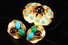 Jomaz Brooch and Earrings  Demi Par by AMagnificentMess on Etsy, $310.00