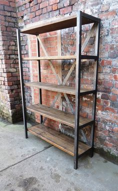 Industrial Chic Reclaimed Custom Steel and Wood Bookcase