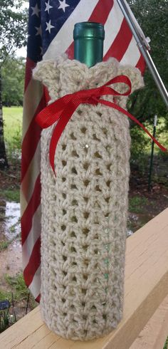 Wine Bottle Gift Bag Crocheted Red Ribbon by SimpleByNature1, $12.50