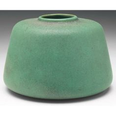 Teco Pottery - vase no.126 - broad shape, green matte glaze
