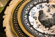 A Little French Rooster Tablescape - StoneGable