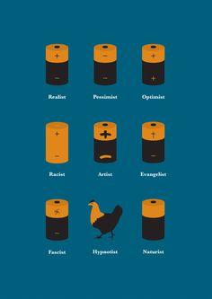 Batteries ... ( #Realist #Pessimist ; #Optimist #Racist #Artist #Evangelist  #Fascist #Hypnotist #Naturist )