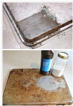 Hydrogen peroxide and baking soda to clean your cookie trays just put on some baking soda and hydrogen peroxide on a little more baking soda and let it sit for 2 hours! Ta da!