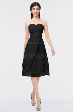 Black Gorgeous A-line Strapless Zip up Knee Length Plainness Bridesmaid Dresses (Style D47028)