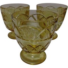 Federal Glass Rosemary Dutch Rose Amber Sugar Bowls Sherbets Three from saltymaggie on Ruby Lane