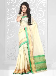 Buy saree online from among a variety of latest designer saree. Order this enchanting patch border work cotton   casual saree.