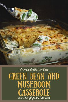 This delicious Low-Carb #Green #Bean and #Mushroom #Casserole recipe is perfect for the holidays! It can be a part of a #lowcarb, #LCHF, #keto, #Atkins, #diabetic, or #Banting diet. Keto Foods, Healthy Diet Recipes, Low Carb Recipes, Cooking Recipes, Cooking Tips, Keto Veggie Recipes, Banting Recipes, Quick Recipes, Pasta Recipes
