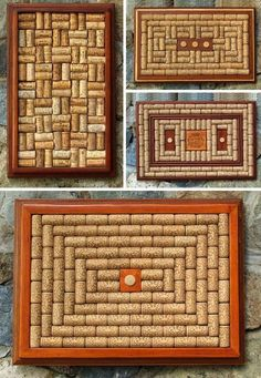 Picture frames with corks inserted to use as trivets....or small bulletin boards
