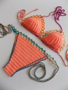 FREE Shipping- multicolor Crochet Bikini,Women Swimwear,Beach Wear,light orange swimsuit,Crochet swimsuit,crochet bikini,crochet swimwear by pompomhats on Etsy