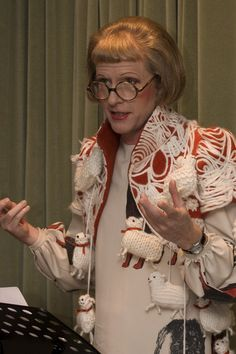 Grayson Perry wearing sheep themed jacket | Contemporary Art Society reception at the Camden Arts Centre, 2009.