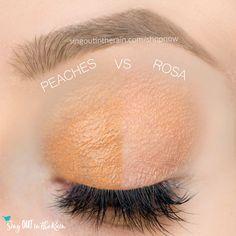 Rosa and Peaches ShadowSense side by side comparison.  These long-lasting SeneGence eyeshadows help create envious eye looks.  #eyeshadow #shadowsense