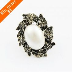 Barato 2015 nova moda venda quente real pérola Vintage folha Popular jóias dedo liga anéis R467, Compro Qualidade Anéis diretamente de fornecedores da China: