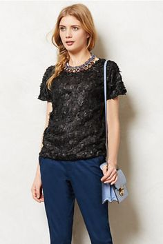 Lattice Blossom Top Black Floral Tee Blouse Weston Wear Anthropologie, MP Petite #Anthropologie #Blouse #CareerCasual