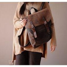 ✓ Płócienny - skórzany plecak casual w stylu vintage retro. Format A4. Brązowy
