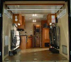 Enclosed Cargo Trailer Camper Conversion Roll-over sofa and dinette 6x12 Enclosed Trailer, Enclosed Trailer Camper Conversion, Enclosed Cargo Trailers, Cargo Trailer Conversion, Homemade Camper, Diy Camper, Custom Trailers, Camper Trailers, Suv Camping