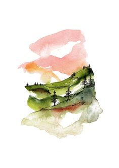 Doing an art — Made this little series of minimal watercolor. Watercolor Art Face, Watercolor Art Landscape, Watercolor Paintings For Beginners, Watercolor And Ink, Watercolor Illustration, Watercolor Galaxy, Watercolor Artists, Galaxy Painting, Guache
