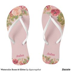Shop Watercolor Roses & Glitter Flip Flops created by digiscrapthat. Glitter Flip Flops, Wedding Gifts For Bridesmaids, Beach Flip Flops, Glitter Wedding, Elegant Chic, Watercolor Rose, Womens Flip Flops, Flip Flop Shoes, Spa Day