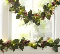 Glossy green on one side and softly sueded on the other, our realistic magnolia leaves are a study in beautiful contrast. On our garland, we've combined them with faux pine and juniper boughs, red berries and real pinecones for a look tha Magnolia Garland, Magnolia Leaves, Hanukkah Decorations, Outdoor Christmas Decorations, Twig Lights, Berry Garland, Pine Garland, Old Fashioned Christmas, White Candles