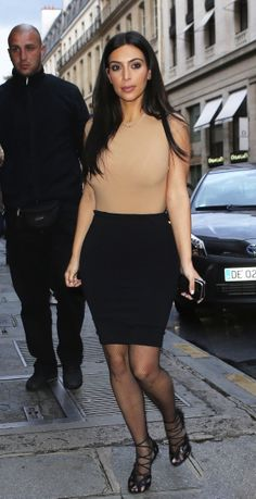 Kim Kardashian - Black & Tan Dress