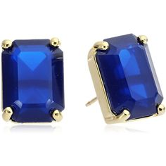 kate spade new york Navy Emerald Cut Stud Earrings ($37) ❤ liked on Polyvore featuring jewelry, earrings, stud earrings, kate spade earrings, navy blue earrings, navy earrings and kate spade
