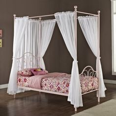 Shop for Pink Metal Twin-size Canopy Bed with Curtains. Get free delivery On EVERYTHING* Overstock - Your Online Furniture Outlet Store! Twin Canopy Bed, Canopy Bed Curtains, Metal Canopy Bed, Kids Canopy, Bed Frame And Headboard, Bed Tent, Bed Frames, Diy Home Decor Bedroom, Bedroom Ideas