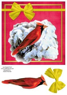 Cardinal on a Snowy Branch 3 on Craftsuprint - View Now!