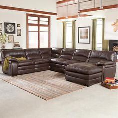 Laughlin Top Grain Leather Chaise Sectional. $3200 delivered from costco