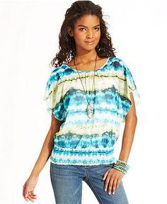 BCX Tie-Dye-Print Blouson Top - Juniors Tops - Macy's