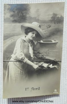 Antique French April 1st Postcard - Woman Holding a Large Basket of Fish (Poisson D'Avril) by ChicEtChoc on Etsy