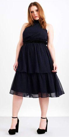 Plus Size Dot A-Line Dress