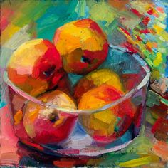 """Lena Levin. A bowl of apples  12""""×12""""  Oil on archival canvas panel  October 2010.  $380"""