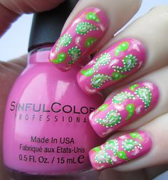 A design I did a few weeks ago. I fancied a bright manicure, so I used a gorgeous pink polish as a base and then painted on a paisley design using acrylic paints. Modelled on my natural nails. You ...