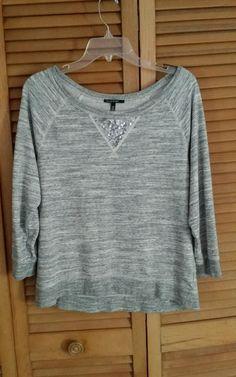 Chaus Sport Women Gray Pullover Sequin Bling Sweater Shirt Size L Large  #ChausSport #Crewneck