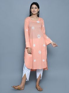 Peach White Cotton Bandhini Kurta