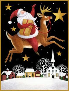 Santa's Reindeer Over Town by Stephanie Stouffer