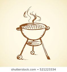 Modern new blank circle grate Bbq heater device for steak snack isolated on white backdrop. Outline black hand drawn picture sign sketch in art scribble retro style pen on paper with space for text Happy Eid, White Backdrop, Logo Food, Retro Style, Retro Fashion, Hand Drawn, Birthday Cards, Backdrops, How To Draw Hands